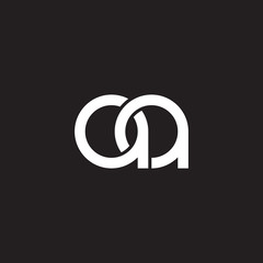 Initial lowercase letter aa, overlapping circle interlock logo, white color on black background