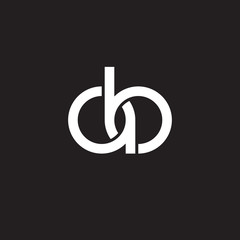 Initial lowercase letter ab, overlapping circle interlock logo, white color on black background