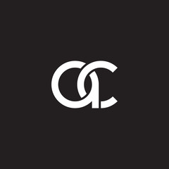 Initial lowercase letter ac, overlapping circle interlock logo, white color on black background