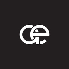 Initial lowercase letter ae, overlapping circle interlock logo, white color on black background