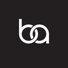 Initial lowercase letter ba, overlapping circle interlock logo, white color on black background