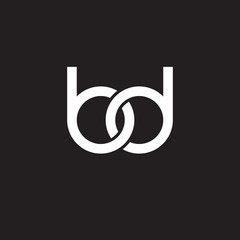 Initial lowercase letter bd, overlapping circle interlock logo, white color on black background