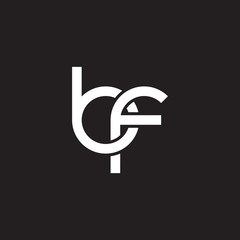 Initial lowercase letter bf, overlapping circle interlock logo, white color on black background