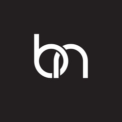 Initial lowercase letter bn, overlapping circle interlock logo, white color on black background