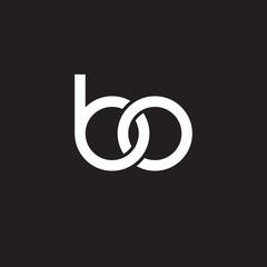 Initial lowercase letter bo, overlapping circle interlock logo, white color on black background