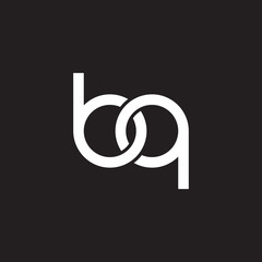 Initial lowercase letter bq, overlapping circle interlock logo, white color on black background