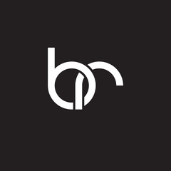 Initial lowercase letter br, overlapping circle interlock logo, white color on black background