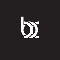 Initial lowercase letter bx, overlapping circle interlock logo, white color on black background