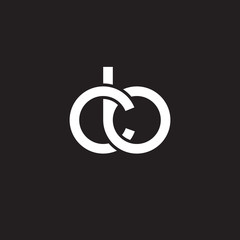 Initial lowercase letter cb, overlapping circle interlock logo, white color on black background