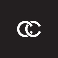 Initial lowercase letter cc, overlapping circle interlock logo, white color on black background