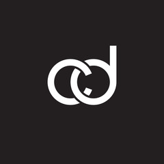 Initial lowercase letter cd, overlapping circle interlock logo, white color on black background