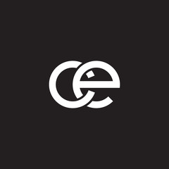 Initial lowercase letter ce, overlapping circle interlock logo, white color on black background