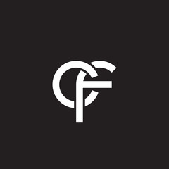 Initial lowercase letter cf, overlapping circle interlock logo, white color on black background