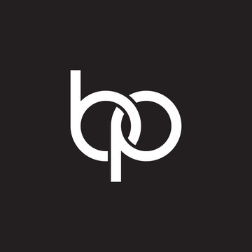 Initial lowercase letter bp, overlapping circle interlock logo, white color on black background