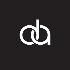 Initial lowercase letter da, overlapping circle interlock logo, white color on black background