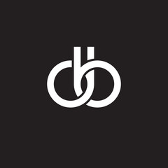 Initial lowercase letter db, overlapping circle interlock logo, white color on black background