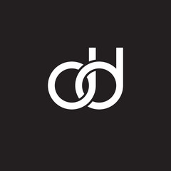 Initial lowercase letter dd, overlapping circle interlock logo, white color on black background