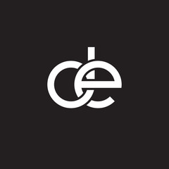 Initial lowercase letter de, overlapping circle interlock logo, white color on black background