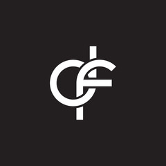 Initial lowercase letter df, overlapping circle interlock logo, white color on black background