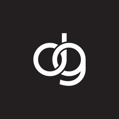 Initial lowercase letter dg, overlapping circle interlock logo, white color on black background
