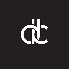 Initial lowercase letter dk, overlapping circle interlock logo, white color on black background
