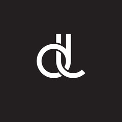 Initial lowercase letter dl, overlapping circle interlock logo, white color on black background