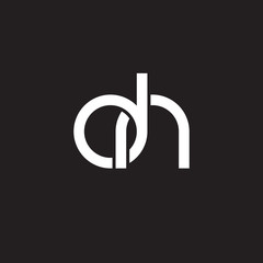 Initial lowercase letter dn, overlapping circle interlock logo, white color on black background