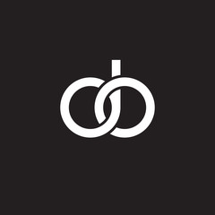 Initial lowercase letter do, overlapping circle interlock logo, white color on black background