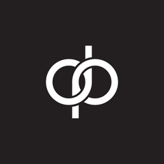 Initial lowercase letter dp, overlapping circle interlock logo, white color on black background