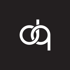 Initial lowercase letter dq, overlapping circle interlock logo, white color on black background
