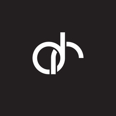 Initial lowercase letter dr, overlapping circle interlock logo, white color on black background