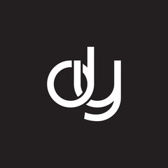 Initial lowercase letter dy, overlapping circle interlock logo, white color on black background