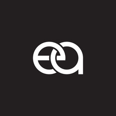 Initial lowercase letter ea, overlapping circle interlock logo, white color on black background