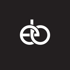 Initial lowercase letter eb, overlapping circle interlock logo, white color on black background
