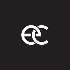 Initial lowercase letter ec, overlapping circle interlock logo, white color on black background