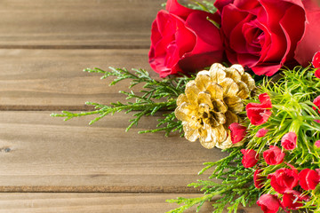 Holiday Bouquet on Wooden Background