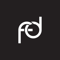 Initial lowercase letter fd, overlapping circle interlock logo, white color on black background