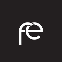 Initial lowercase letter fe, overlapping circle interlock logo, white color on black background