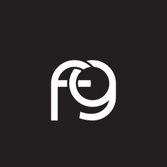 Initial lowercase letter fg, overlapping circle interlock logo, white color on black background
