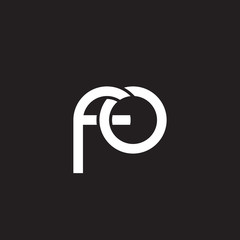 Initial lowercase letter fo, overlapping circle interlock logo, white color on black background