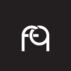 Initial lowercase letter fq, overlapping circle interlock logo, white color on black background