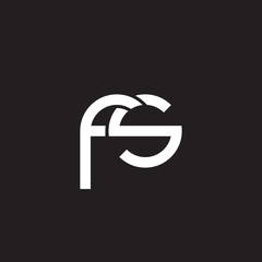 Initial lowercase letter fs, overlapping circle interlock logo, white color on black background
