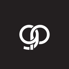 Initial lowercase letter gp, overlapping circle interlock logo, white color on black background