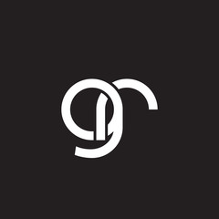 Initial lowercase letter gr, overlapping circle interlock logo, white color on black background