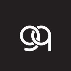 Initial lowercase letter gq, overlapping circle interlock logo, white color on black background