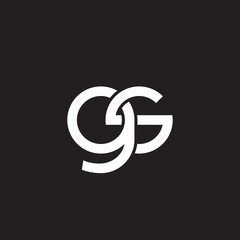 Initial lowercase letter gs, overlapping circle interlock logo, white color on black background