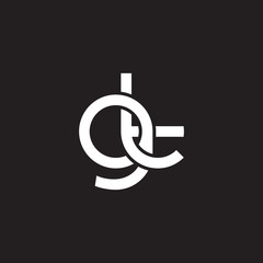 Initial lowercase letter gt, overlapping circle interlock logo, white color on black background