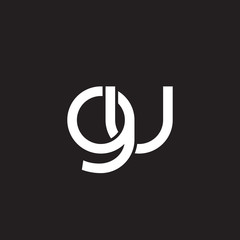 Initial lowercase letter gu, overlapping circle interlock logo, white color on black background