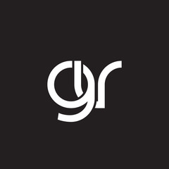 Initial lowercase letter gv, overlapping circle interlock logo, white color on black background