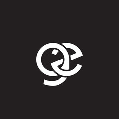 Initial lowercase letter gz, overlapping circle interlock logo, white color on black background